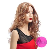 kanekalon wigs - 25 inch Female Glamorous Charming Long Brown Blonde Wave100 Kanekalon Fiber Synthetic Women Wig Hair g H613 H9321Z