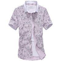 Wholesale Hot Sale Men s Floral Short Shirts Fashion Casual Slim Fit Camisas Hombre Masculina Flower Business Dress Shirts Homme Male