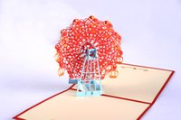 Wholesale The Ferris wheel One piece d handmade card Pop UP Gift Greeting D cards Handmade paper Cards invitation cards