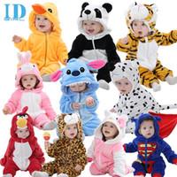 al por mayor mamelucos animales del bebé-Otoño Invierno ropa del bebé de la franela del bebé de la ropa de la historieta animal del mono de la niña de los mamelucos del bebé Ropa XYZ15088