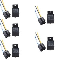 Wholesale 5 X Black DC V A SPST Premium Relay Socket Pin P Wire For Car Auto
