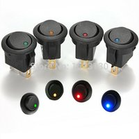 Wholesale 4Pcs Red Green Blue Yellow V LED Dot Light Car Boat Round Rocker ON OFF SPST Switch