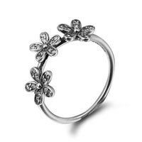 Wholesale Three Daisy Silver Ring with Clear CZ Sterling Silver Ring Fit Pandora Fashion Jewelry DIY European Style
