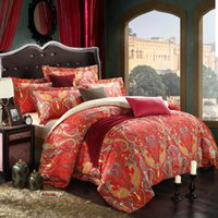 Wholesale 1000TC luxury Red ethnic style bedding set queen king size Duvet blanket case bedsheet pillowcase pc bed sets supima cotton