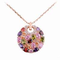 al por mayor de múltiples collar de cristal coloreado-Mona Lisa Style Cristal de circonio multicolor con collares de charam
