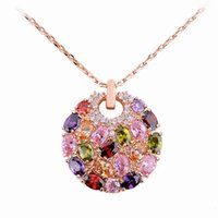 colored rhinestones - Mona Lisa Style Multi colored Zircon Crystal with charam necklaces