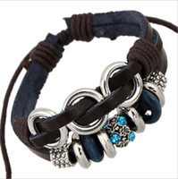 Wholesale 2015 Fashion Charms Bracelets Infinity Handmade Blue Rhinestone For Men Leather Bracelets Jewelry