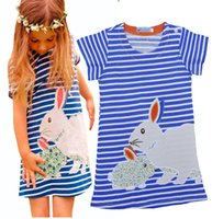 Wholesale Retail INS Rabbit Cartoon Girl Dress Pretty Baby Girls Clothes Lovely Rabbit Navy Striped Cartoon Fashion Kids Dresses For Girls Clothing
