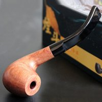 bent wood boxes - Handmade Smoke pipe filter cigarette holder smoking accessories Bent type filter Can be cleaned wooden tobacco pipe W Gift box