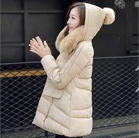 Femmes Down Jacket Coat 2015 coréenne Slim Fashion Une ligne en vrac à capuche avec fourrure de raton laveur collier de chien Femmes long hiver DownParkas Manteaux Hoods