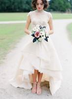 asymmetrical hem dress - High Low Hem Lace Wedding Dress Top Lace High Neck Cap Sleeves Bridal Wedding Gown Front Short Back Long Garden Wedding Dress