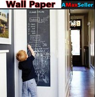 Wholesale Creative cm M Blackboard Posted Removable Chalkboard Stickers DIY Wall Paper wallpaper Chalks Decals For Living Bedroom School