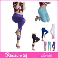 Wholesale Candy Color Women YOGA Pants Tight Running Riding Leggings YOGA Pants with Zipper M X XL