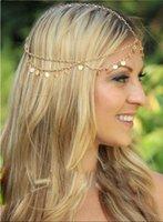 Wholesale Cheap Hot Bohemian Tassel Chain HairBands Runway Style Wave Shiny Piece Women Dance Hair Sequins Wedding Accessories Head Chain Jewelry