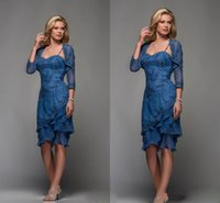 Wholesale 2014 Applique Chiffon Ruffle Knee length Mother of the Bride Dresses With Sheer Long Sleeve Jacket Beads Column Wedding Party Gowns LV05