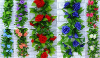Unisex artificial flower garland wholesale - 2016 wedding blue and white Artificial Rose Silk Flower Green Leaf Vine Garland Home Wall Party Decorations pieces