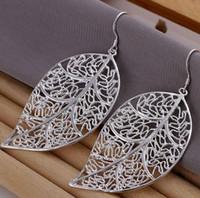 big earrings - Hollow leaf sterling silver female fashion big earings Jewelry crystal Drop earrings trendy women earrings