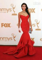 nina dobrev red dress - 2015 Nina Dobrev Red Dress sweetheart Emmy Awards Formal Evening Dress Celebrity Dresses Strapless Ruffles Backless Mermaid Prom Gowns