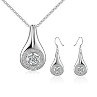 Wholesale Factory price sterling silver flagon pendant necklace earrings jewelry Set with zircon Party gift for women