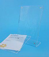 Wholesale 4 x6 mm Clear Acrylic Thick mm Plastic Sign Display Paper Label Card Price Tag Holder Stand With Magnets On Tabletop High Quality