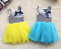 baby dresses uk - 4Pcs Girls Summer Tutu Lace Dresses baby clothing Striped kids cotton lace bow dresses Up Mix order EMS FEDEX DHL to AU US UK FR NL CA
