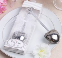 herbal tea gifts - 2015 New quot Tea Time quot Heart Tea Infuser Heart Shaped Stainless Herbal Tea Infuser Spoon Filter Wedding favors gift With gift box