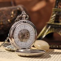 Wholesale Modern Engraved Mechanical Pocket Watch Silver Luxury Brand Watch for Mens Round Vine Necklace Watch Hot Sale PW106
