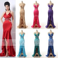 Wholesale 2015 New Sexy In Stock Prom Dresses With Spaghetti Beads Backless High Low Mermaid Stretch Satin Fashion Cheap Red Evening Party Gown SD170
