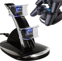 Wholesale Black Quick Dual Charger Charging Dock Stand USB Cable For Sony PlayStation For PS3 Controller Console