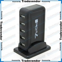 Wholesale 7 Port High Speed USB HUB US Plug AC Powered Adapter Stand style USB HUB for PC Laptop