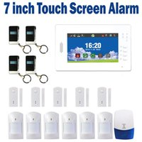 Wholesale 7 Inch Screen Touch kedpad Wireless GSM Alarm System MHz smart home office secutiry alarm Outdoor Horn SG