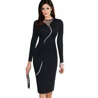 Wholesale 2016 Fall Winter Ladies Work Wear Pencil Dresses Black Plus Size Women Clothings S XL Women Long Sleeve Bodycon Casual Dresses