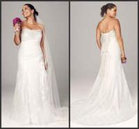 Wholesale Custom Made Plus Size Wedding Dresses Sweetheart Lace Up Lace Wedding Dresses Wedding Beading Bridal Gowns for Fat Woman