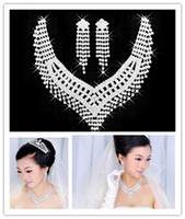 Wholesale Silver Rhinestone Crystal Bridal Jewelry Sets Necklace Earrings Statement Wedding Party Engagement Jewelry Crown Selective Glue Free