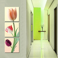 Wholesale 3 Pieces unframed on Canvas Prints tulips stone Lotus swan Bamboo wooden bridge fish potted flower sea Stone Bridge
