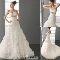 Wholesale 2016 BEAUTIFUL FASHION Organza Rose A Line Sweetheart neckline WEDDING DRESSES Ball Gown Evening Dres New Bride Gowns Beaded Belt Lace up