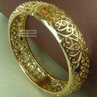 Wholesale 18k yellow Gold GF Vintage style diamond cut solid womens bangle Bracelet jewelry G97