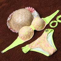 ba set - Brand design Women s Swimwears Floral Lace Bikini Set Vintage bandage Swimsuit Ba embroidered temptation cheap brazilian bikini