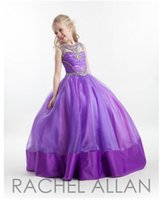 Cheap Purple Pageant Dresses For Teens Rachel Allan Teen Pageant Gowns with Beads Ball Gown Sleeveless Floor Length Girls Pageant Gowns