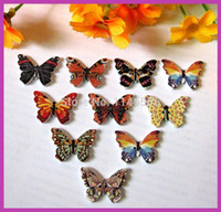 Wholesale 150pcs Holes Mixed Butterfly Wooden Buttons Sewing Accessories and Scrapbook x25mm Scrapbooking botoes para artesanato