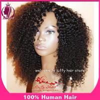 Wholesale Hotselling density kinky curly u part wig left opening unprocessed virgin human hair wigs upart brazilian for black women a