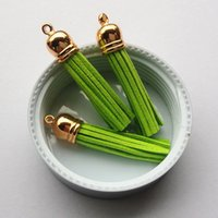 Wholesale Newest Light Green MM Gold Cap Suede Cord Tassels DIY Jewelry Accessory Material Macrame for Curtain Kerychain