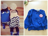 Wholesale 2015 new autumn BOBO CHOSES kids children s boy s girl s royal blue big eyes zipper cardigans jacket coats cardigan jackets outerwears