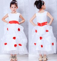 best halloween pictures - 2016 Best Selling White And Red Long A line Jewel Neck Flower Girl Dresses For Weddings Flowers Organza Communion Dresses White fd4496