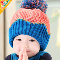 baby patch clothing - Newborn Boys Wollen Caps For Winter Patched Colour Girls Warm Ear Hats Baby Kids Clothing Fit Age SS516