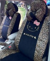 auto acessories - 18pcs fashion polka dot hello kitty car seats covers sexy leopard auto chairs front and back seats covers car acessories full set all in one