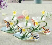 Gros-180ml Peinture Porcelaine Bone China papillon Fleurs café Set Creative Tea Cup Set main Set, gratuites 3colors d'envoi