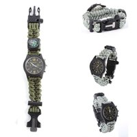 analog watch compass - Military Survival Compass Bracelet Watch Flint Fire Starter Scraper Whistle Gear Watch