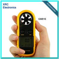 Wholesale Retail Packge GM816 m s MPH LCD Digital Hand held Wind Speed Gauge Meter Measure Anemometer Thermometer