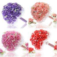 Wholesale Artificial Wedding Flowers Bridal Bouquet Romantic Wedding Bridesmaid Flowers Pink Purple Red buque de noiva Wedding accessory